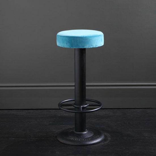 Pole Bar Stool - Pacific Blue Velvet - Black Base - 70