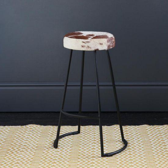 Tapas Industrial Bar Stool Brown & White Seat 67 cm Black Base
