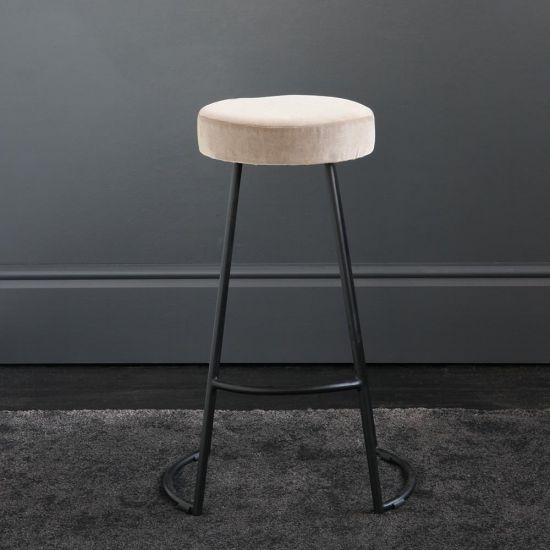 Tapas Velvet Cocktail Bar Stools - Linen Velvet Seat - Black base - 67cm