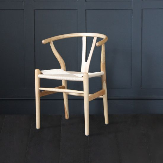 Hans Wegner Style Wishbone Chair / Natural Ash with Natural Paper Coil Seat