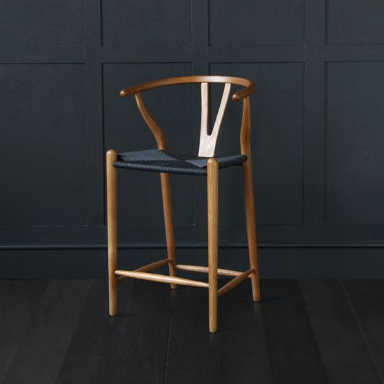 Hans Wagner Style - Wishbone Bar Stool Dark Ash / Black Seat  62cm