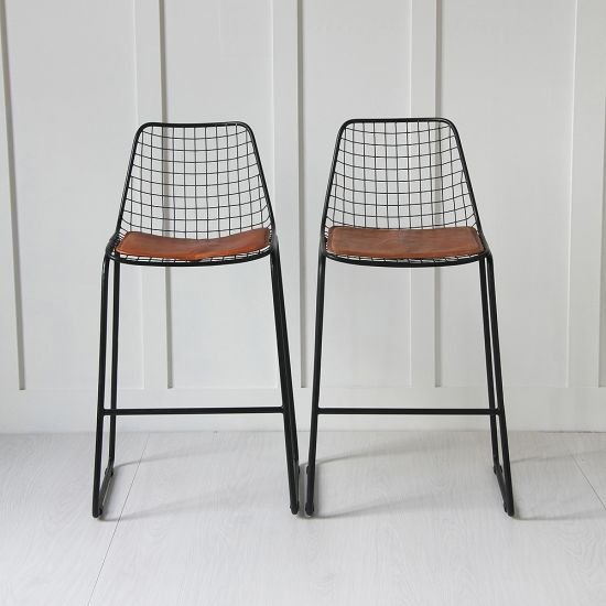 Black Wire Bar Stool with Tan Pad
