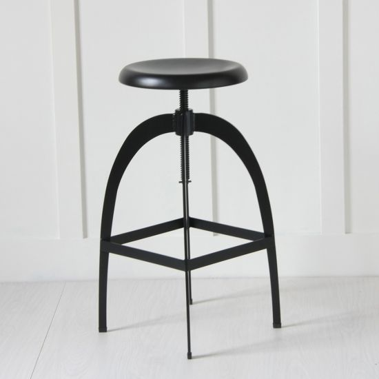 The Rocket, Matt Black Metal adjustable Bar / Kitchen Counter Stool