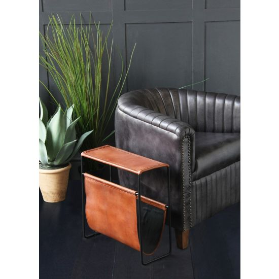 Belvadere Magazine Rack / Side Table Tan leather and Black Metal