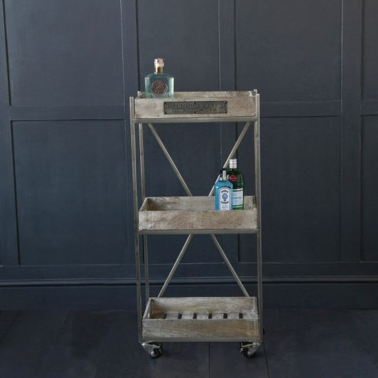 French Bathroom / Drinks Trolley - Antique Finish on Castors