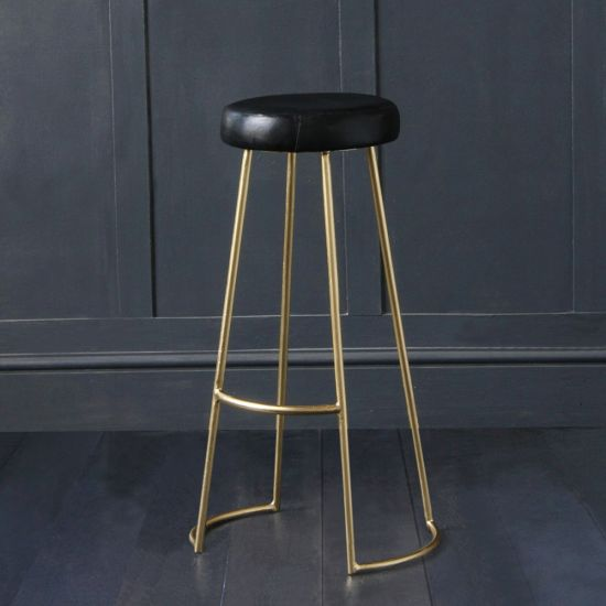 TAPAS BAR STOOL WITH BLACK BUFFALO LEATHER SEAT