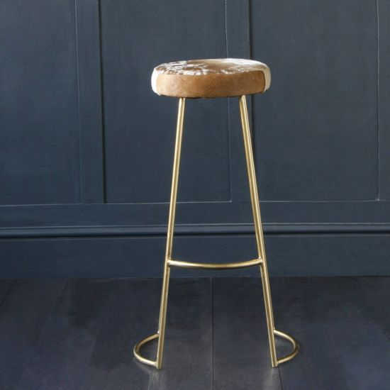 Tapas Bar Stool with Cow Hide Seat and Gold Base