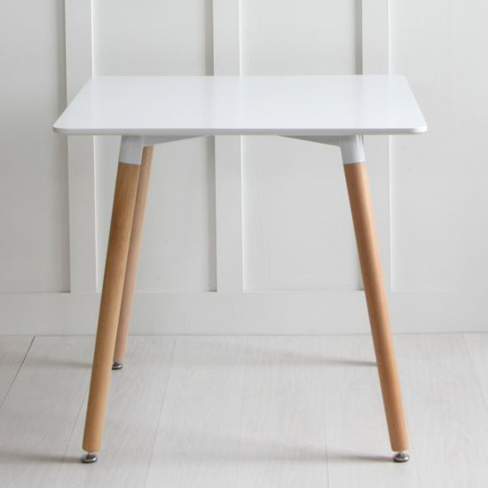 Jamie White Table Natural Leg, 80 x 80