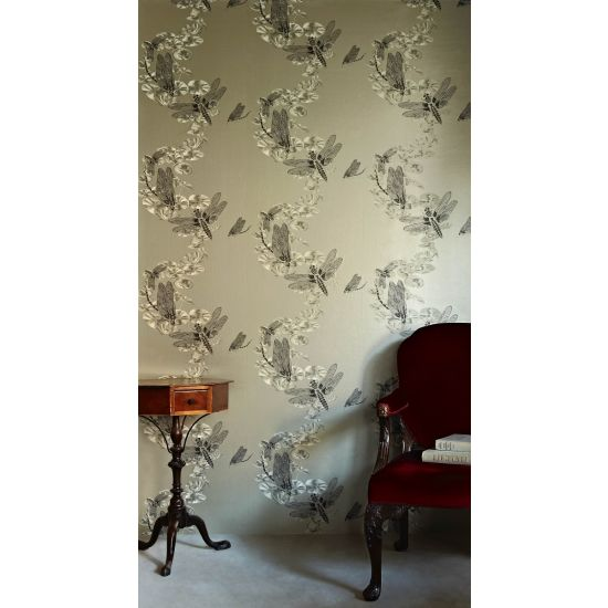Barnaby Gates Dragonfly Wallpaper, Pewter