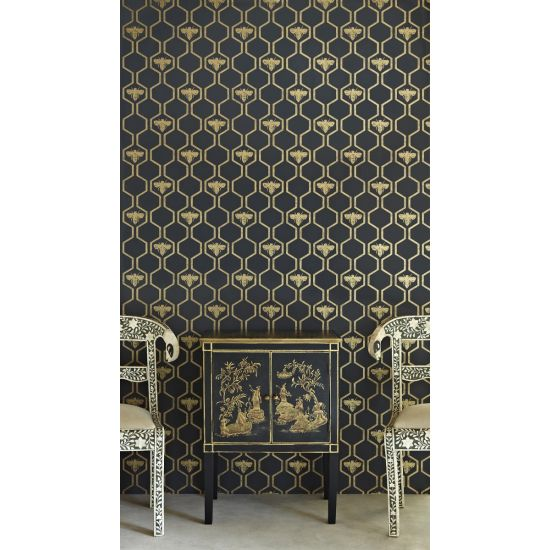 Barnaby Gates Honey Bees Wallpaper (Gold on Charcoal)