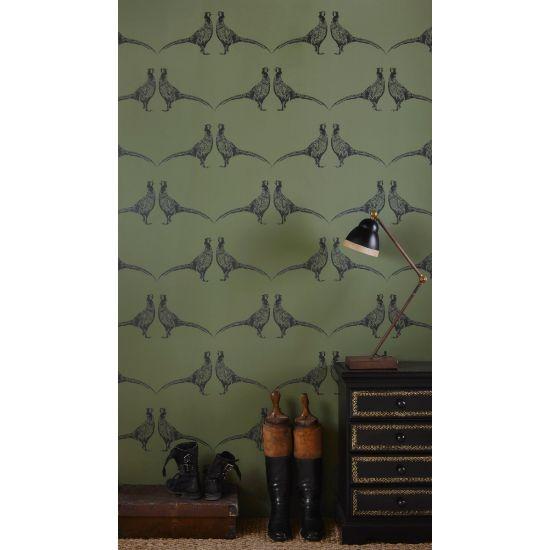 Barnaby Gates Pheasant Wallpaper, Camo Green