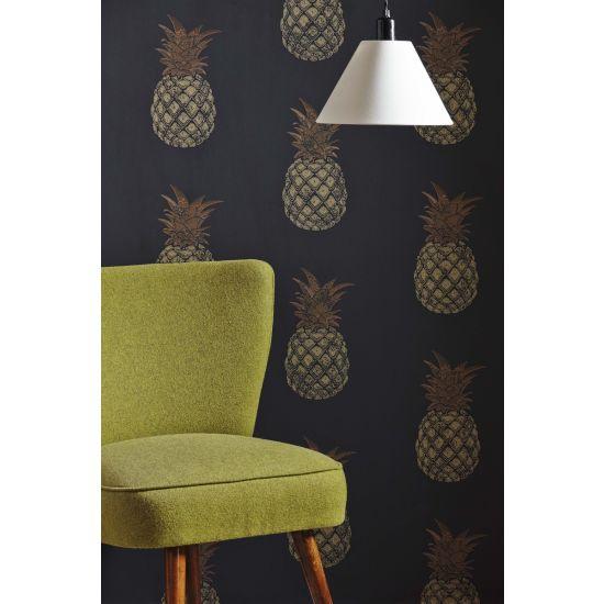 Barnaby Gates Pineapple Wallpaper Charcoal