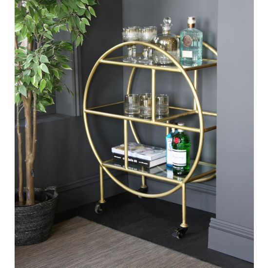 Circle Shelf Unit Drinks / Bar Trolley Gold with Glass Shelves