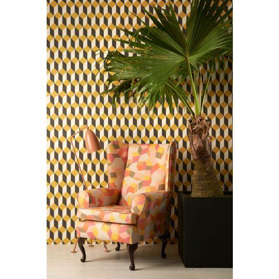 Cole & Son Geometric II Wallpaper, Delano, Yellow/Black