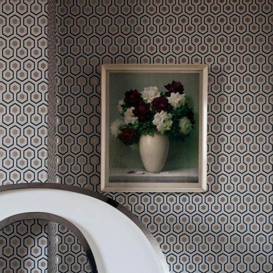 Cole & Son Contemporary Restyled Wallpaper, Hicks Hexagon, Silver