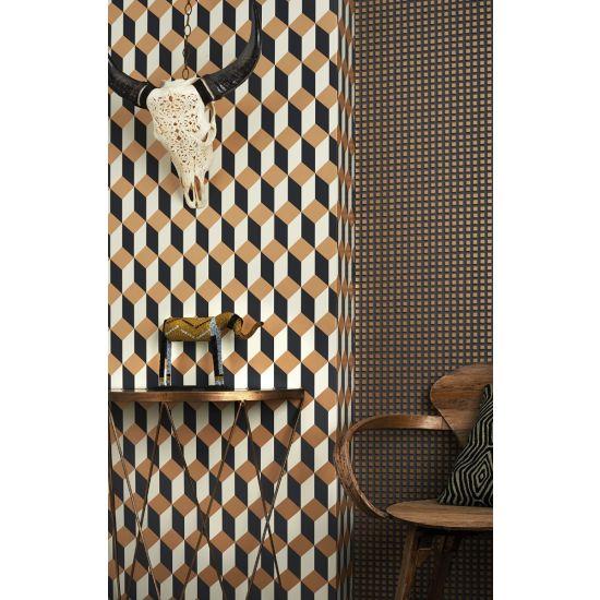 Cole & Son Geometric II Wallpaper, Delano, Gold/Black
