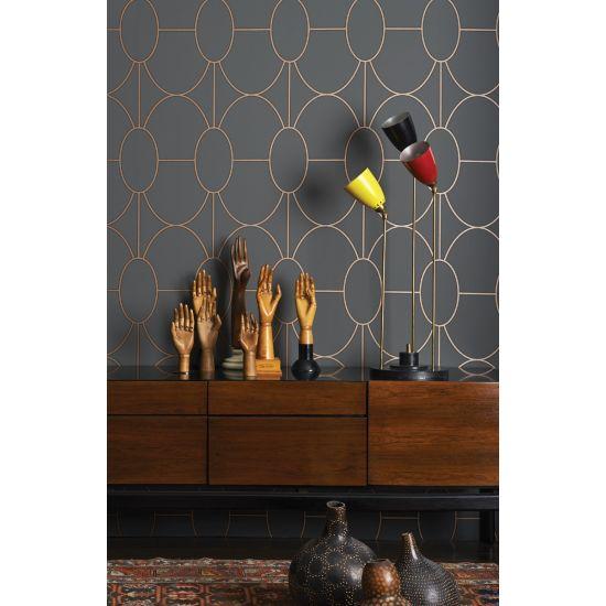 Cole & Son Geometric II Wallpaper, Riviera, Charcoal