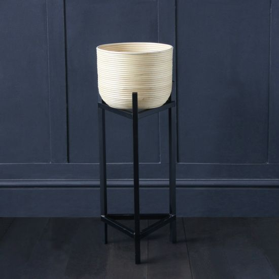 Rattan Planter On Black Triangle Stand, Small