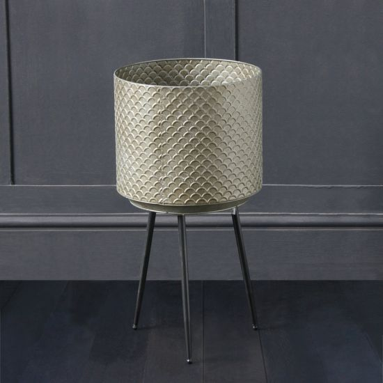 Melonie Planter - Patterned Metal Top On 3 Pencil Legs