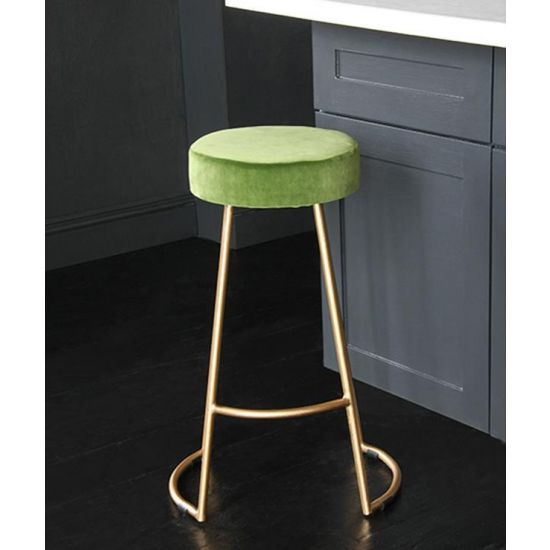Tapas Velvet Cocktail Bar Stools – Stain Resistant Green Grass Velvet Seat with Solid Metal Gold Base