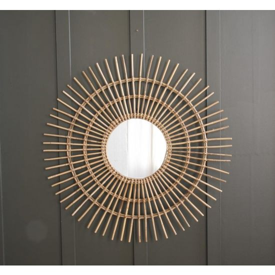 STARBUST NATURAL RATTAN MIRROR - LARGE