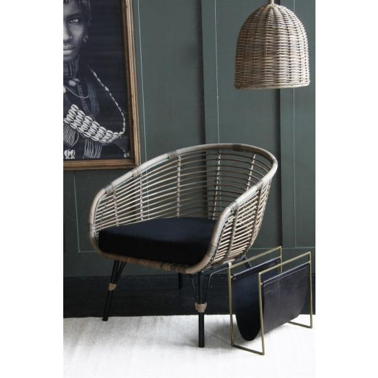 Rattan Club Accent Chair - Black Cushion and Black Legs