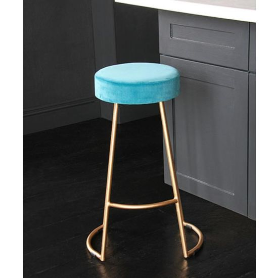 Tapas Velvet Cocktail Bar Stools – Stain Resistant Pacific Blue Velvet Seat with Solid Metal Gold Base