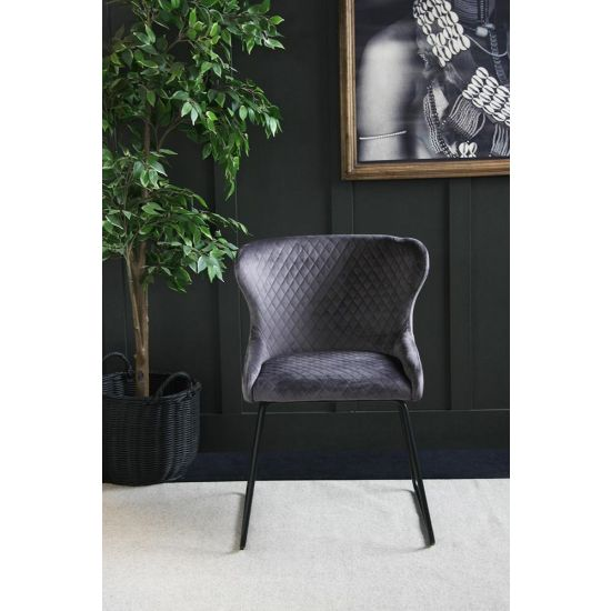 Velvet Dining Chair – 70s Kitsch – Comfortable Dining Chair-Grey