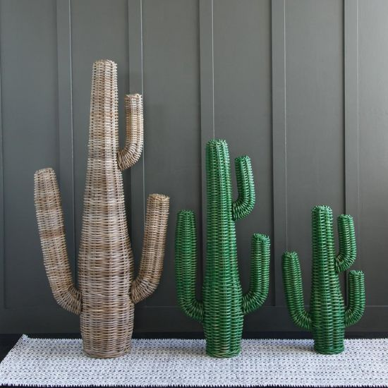 Rattan Green Cactus (Medium) can be bought as a set