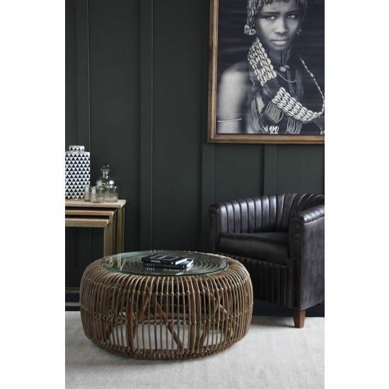 The Bali Rattan Round Coffee table with Glass