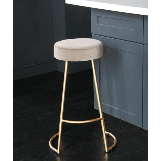 Tapas Velvet Cocktail Bar Stools – Stain Resistant Linen Velvet Seat with Solid Metal Gold Base