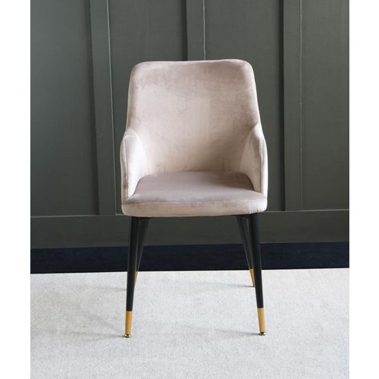 The Grand Mink Velvet upholstered dining chair with Pencil leg and raised sides