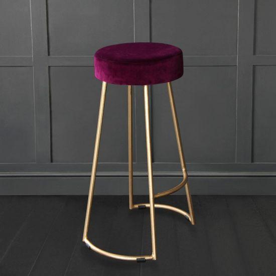 Tapas Velvet Cocktail Bar Stools – Stain Resistant Pitaya Burgundy Velvet Seat with Solid Metal Gold Base