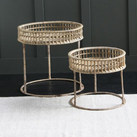 Rattan Side Table Set light round rattan side tables Large 50cm- Small 40cm Dia.