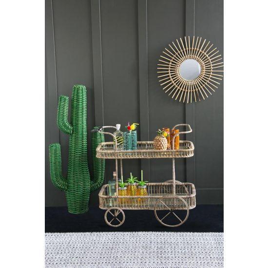 Rattan Tiki Bar Cart / Drinks Trolley
