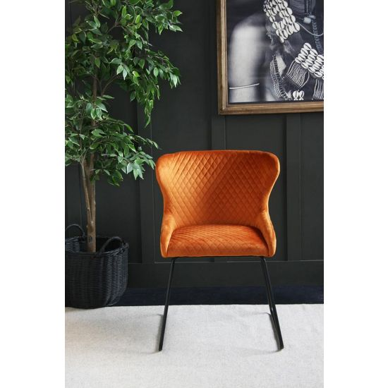 Velvet Dining Chair – 70s Kitsch – Comfortable Dining Chair-Orange