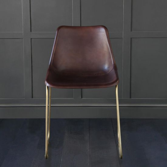 Deluxe Road House Dining Chair, Gold Base with Tobacco Brown seat