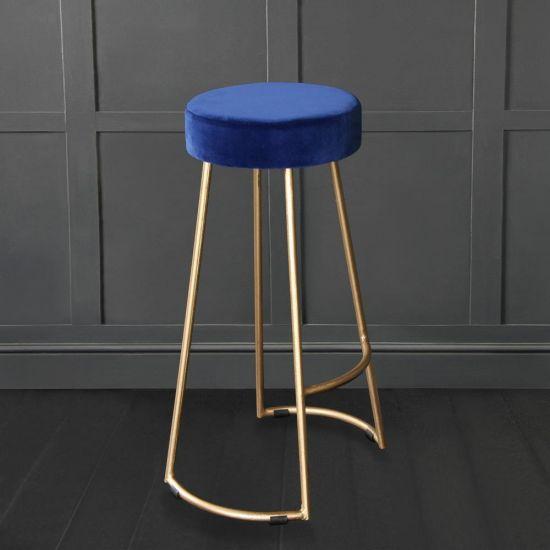Tapas Velvet Cocktail Bar Stools – Stain Resistant Azure Blue Velvet Seat with Solid Metal Gold Base