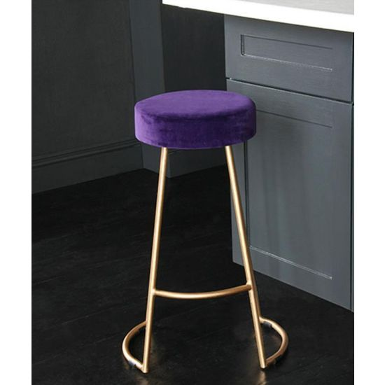 Tapas Velvet Cocktail Bar Stools – Stain Resistant Royal Purple Velvet Seat with Solid Metal Gold Base