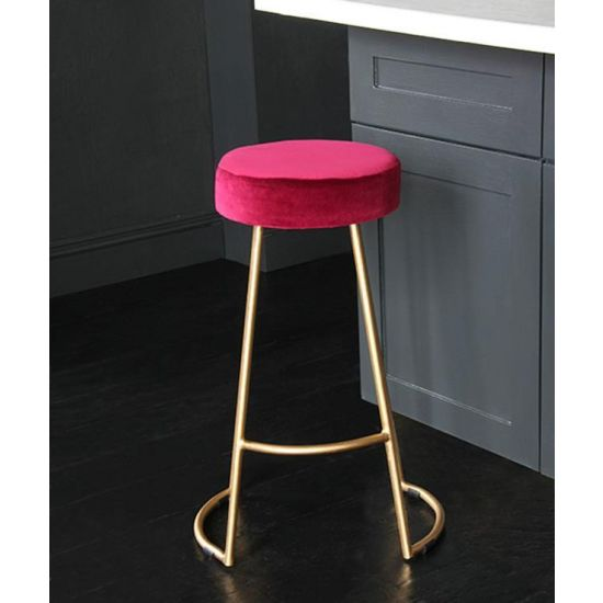 Tapas Velvet Cocktail Bar Stools – Stain Resistant Tulip Red Velvet Seat with Solid Metal Gold Base
