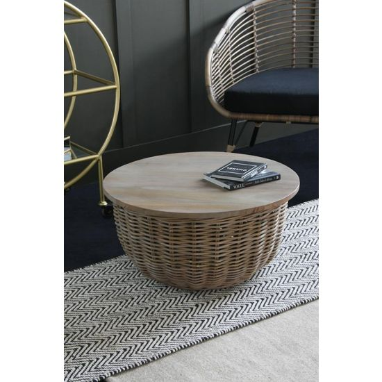 Rattan Round Coffee Table with Storage