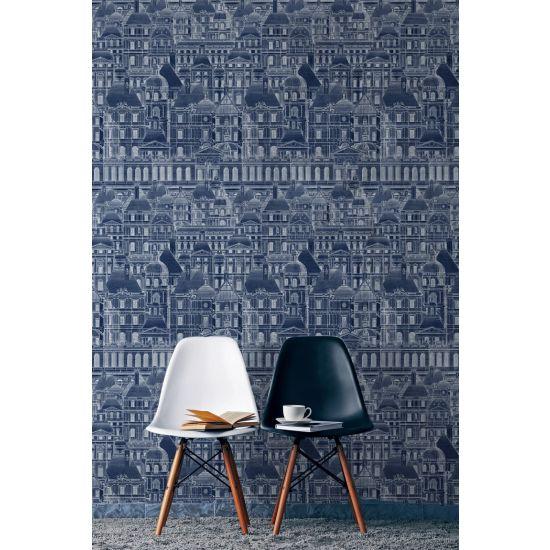 Mind the Gap Lourve Wallpaper, Blue