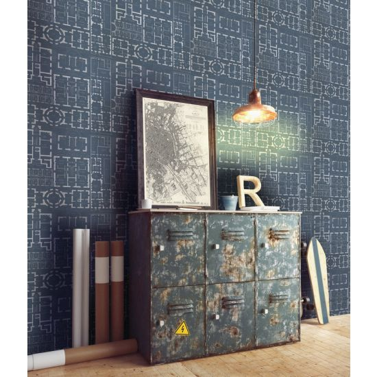 Mind The Gap Chateau Wallpaper, Blue