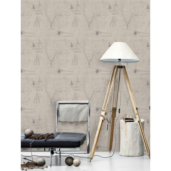 Mind The Gap Newton Geometry Wallpaper, Taupe