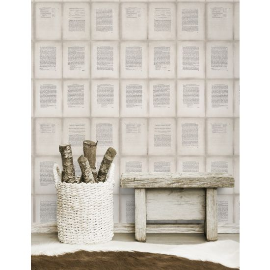 INSIDE BOOK Taupe Wallpaper