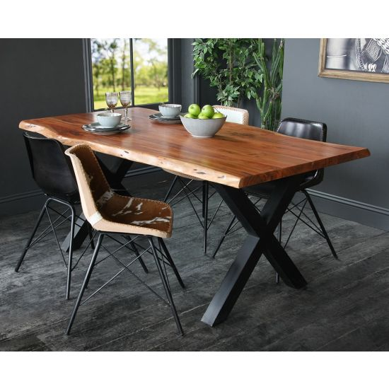 Acacia Dining Table with Natural Edge and Black Metal Cross Leg Base