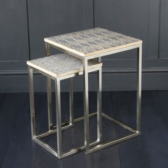 Aztec Nest Of Tables With Patterned Top And Natural Steel Legs