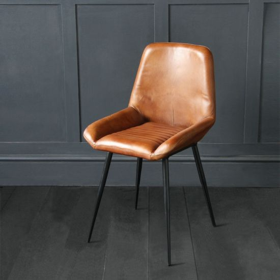 Brooklyn Dining Chair In Tan Buffalo Leather