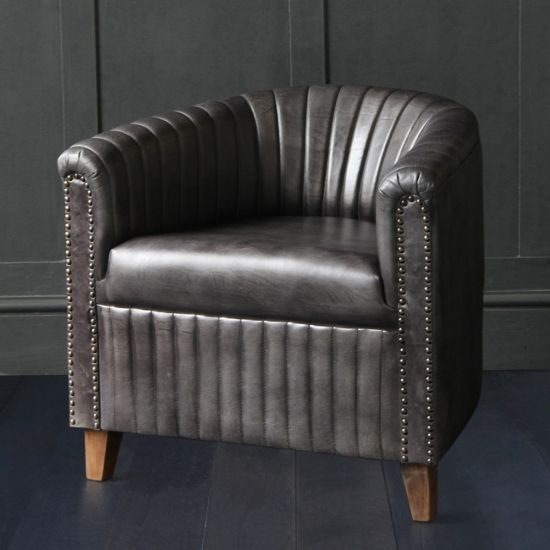 Club Chair with Pleated Side Panels in Black Buffalo Leather