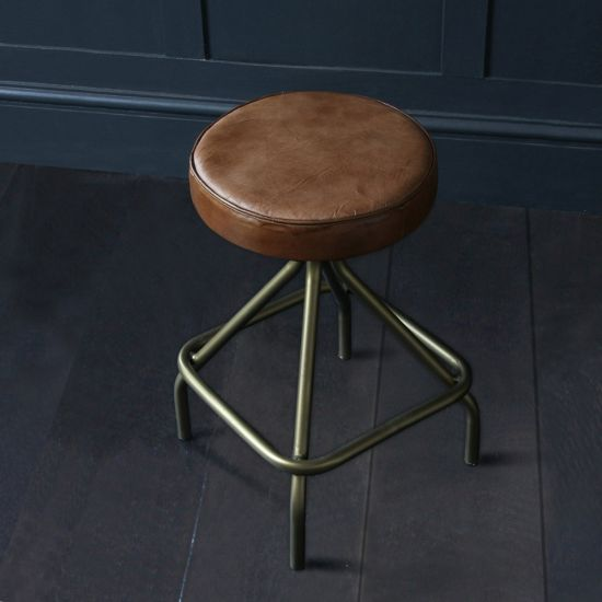 Camden Low Stool in Brown Leather and Brass Base
